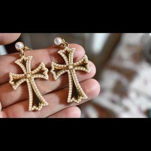 Beaded cross earrings